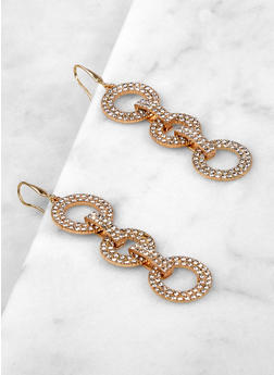 Interlocking Rhinestone Circle Drop Earrings - 1135062929410