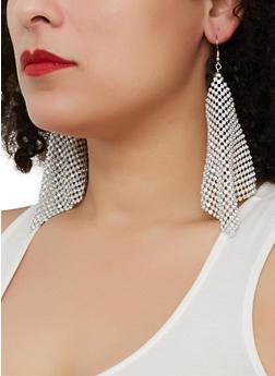 Rhinestone Metallic Mesh Drop Earrings - 1135062929472