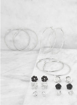 Assorted Rhinestone Bow Stud and Hoop Earrings Set - 1135062929951