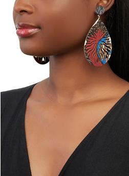Printed Wooden Teardrop Earrings - 1135063099533