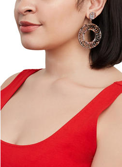 Laser Cut Wooden Drop Earrings - 1135063099573