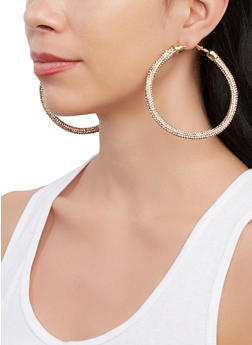 Rhinestone Wrapped Hoop Earrings - 1135067250035