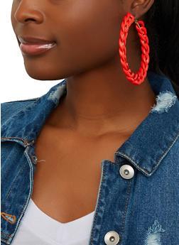 Plastic Chain Hoop Earrings - 1135067250902