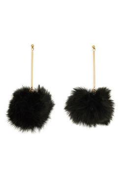 Faux Fur Pom Pom Stick Earrings - 1135067255102