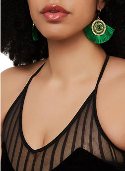 Beaded Disc Fringe Earrings - 1135071210010