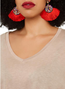 Beaded Disc Fringe Post Back Earrings - 1135071210020
