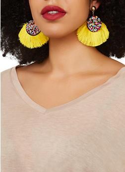 Beaded Disc Fringe Post Back Earrings - 1135071210020