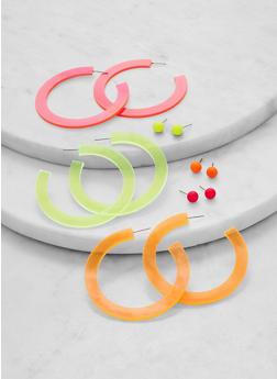 6 Assorted Acrylic Open Hoop and Stud Earrings - 1135071210032
