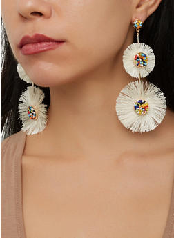 Beaded Fringe Drop Earrings - 1135071210095