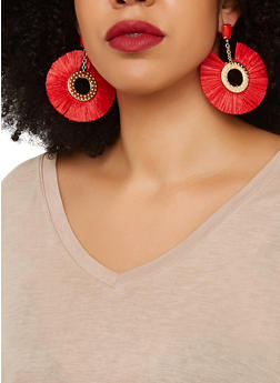 Fringe Metallic Disc Earrings - 1135071210097