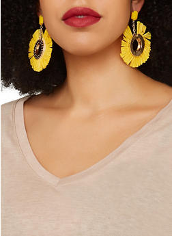 Fringe Metallic Disc Earrings - 1135071210097