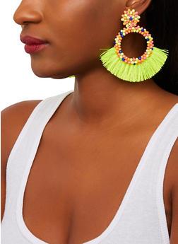 Beaded Circle Fringe Earrings - 1135071210288