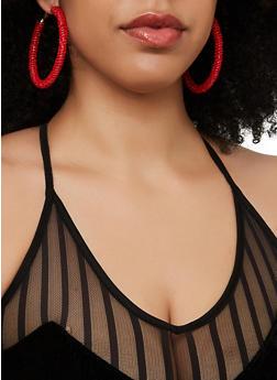 Large Beaded Hoop Earrings - 1135071211009