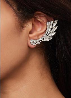 Rhinestone Leaf Ear Crawlers - 1135071214820