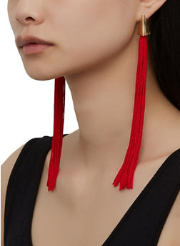 Long Metallic Tassel Earrings - 1135071218004