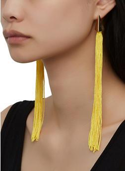 Long Metallic Tassel Earrings - 1135071218004