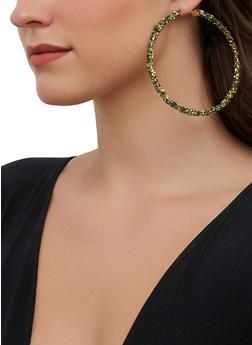 Glitter Wrapped Hoop Earrings - 1135071431057