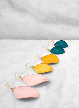 Trio of Colored Plastic Drop Earrings - 1135071431323