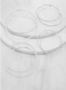 Set of 4 Oversized Textured Hoop Earrings - 1135071431906
