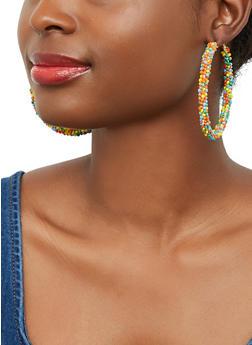 Beaded Hoop Earrings - 1135071431913