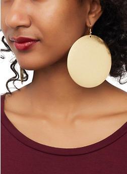 Oversized Metallic Disc Earrings - 1135071434006