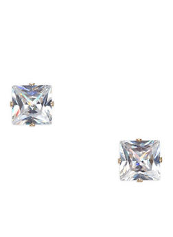 Large Square Cubic Zirconia Stud Earrings - 1135071434040