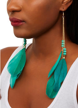 Beaded Feather Earrings - 1135071436100
