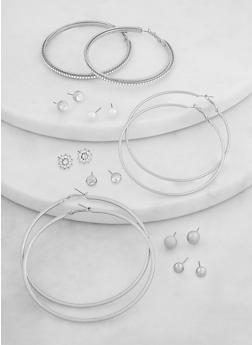 Rhinestone Stud and Metallic Hoop Earrings Set - 1135071436101