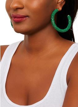 Bead Wrapped Hoop Earrings - 1135071436105