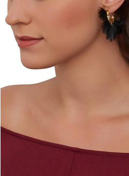 Feather Half Hoop Earrings - 1135071436108