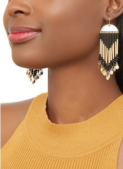 Beaded Metallic Drop Earrings - 1135071436109