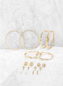 Assorted Rhinestone Flower Stud and Hoop Earrings - 1135072690528