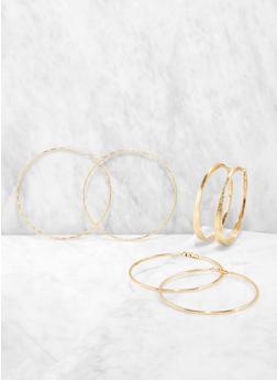 80 90 200 MM Hoop Earring Trio - 1135072690588