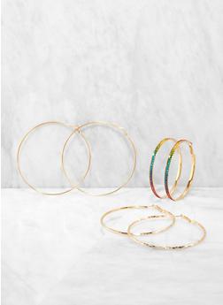 Descending Size Trio of Metallic Hoop Earrings - 1135072690589