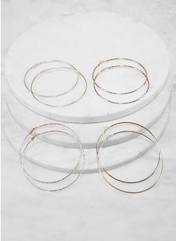 Set of 4 Large Hoop Earrings - 1135072690837