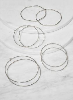 Set of 4 Assorted Wavy Hoop Earrings - 1135072690843