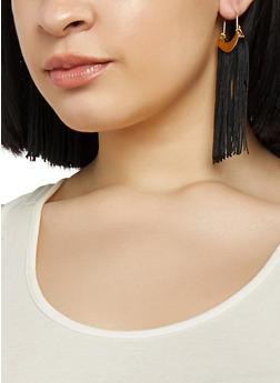 Metallic Detail Tassel Earrings - 1135072691243