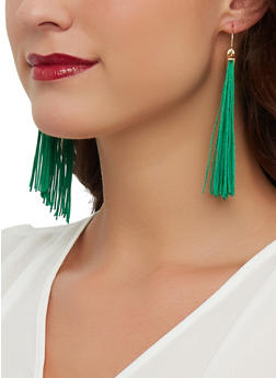 Metallic Detail Tassel Earrings - 1135072691243