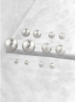 Set of 6 Variegated Metallic Ball Earrings - 1135072691509