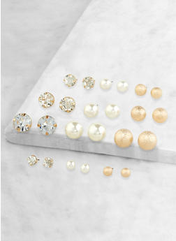 Set of 12 Faux Pearl Assorted Stud Earrings - 1135072691511
