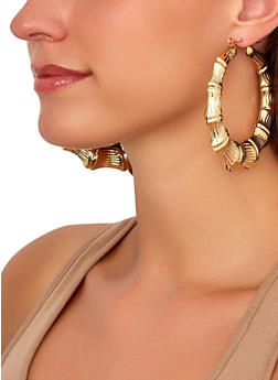 Bamboo Metallic Hoop Earrings - 1135072691819