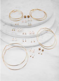 20 Assorted Hoop and Faux Pearl Stud Earrings - 1135072693374