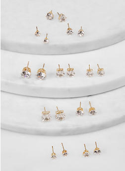 Assorted Cubic Zirconia Stud Earrings - 1135072693436