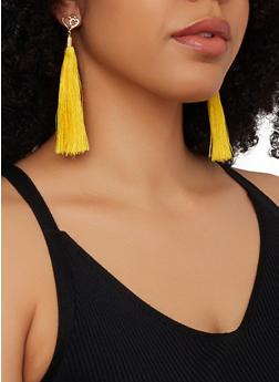 Rhinestone Heart Tassel Drop Earrings - 1135072694665