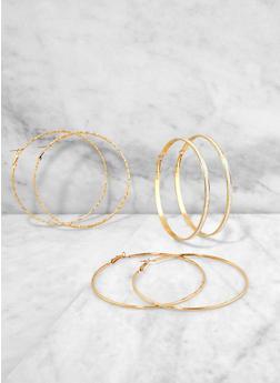 Large Shimmer Hoop Earring Trio - 1135072695066