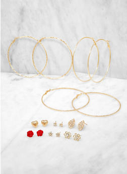 Set of 9 Assorted Stud and Hoop Earrings - 1135072695675