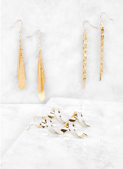 Corkscrew Glitter Drop Earring Trio - 1135072696454