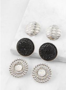 Textured Button Earring Trio - 1135072697047