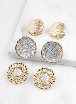 Textured Button Earring Trio - 1135072697047