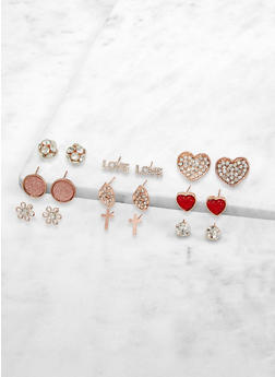 Set of 9 Rhinestone Stud Earrings - 1135072697651